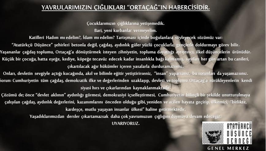 """YAVRULARIMIZIN ÇIĞLIKLARI """"ORTAÇAĞ""""IN HABERCİSİDİR"""