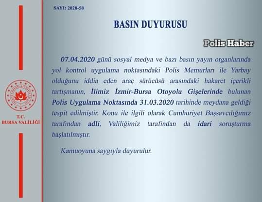 Bursa Valiliği polis ile tartışmaya soruşturma başlatıldığını duyurdu